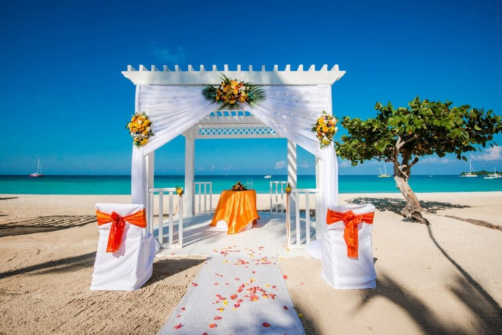 Azul Sensatori Jamaica Wedding Hibiscus Beach in Orange 2 1030x687 - bahamas beach wedding