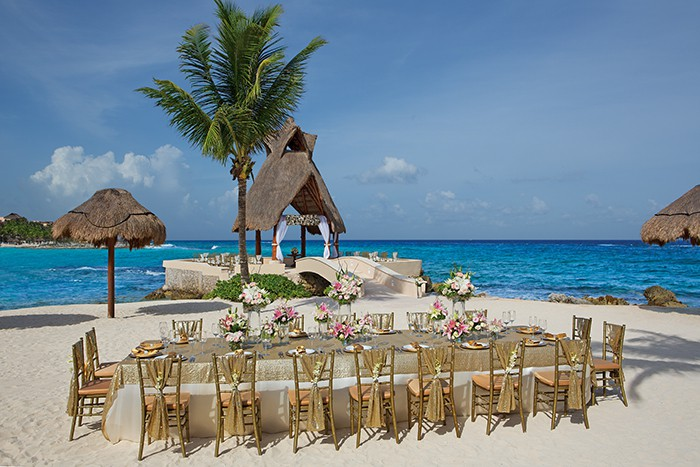 Menu And Reception Set Up At Sibonne In The Turks And: Dreams Puerto Aventuras Wedding