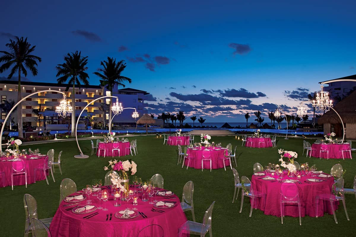Menu And Reception Set Up At Sibonne In The Turks And: Dreams Playa Mujeres Wedding
