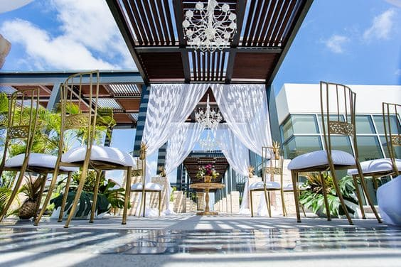 Menu And Reception Set Up At Sibonne In The Turks And: Breathless Riviera Cancun Wedding